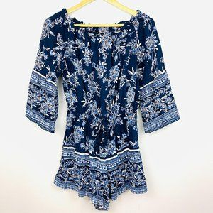 ANGIE Navy Floral Romper with Bell Sleeves